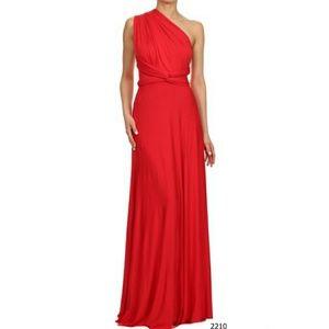 Infinity Multi Way Bridesmaid Maxi Dress Red
