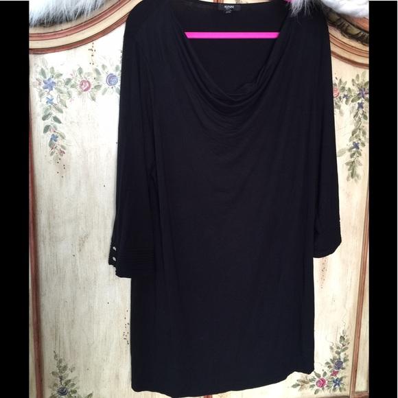 8df8057738a Alfani Dresses & Skirts - 👗2X ALFANI DRESS MINI BLACK DRAPE NECK 3/4