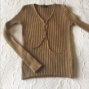 Zara - Tie Up V-Neck Sweater