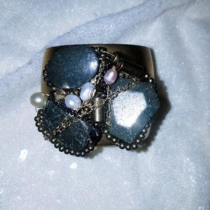 2 for $20Gold cuff with rock and pearl decor