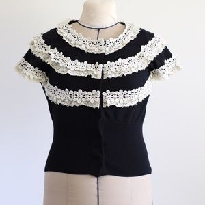 Anthro Knitted & Knotted crochet cardigan