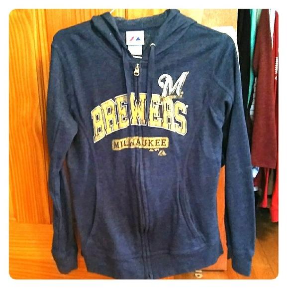 wholesale dealer d04a3 4e05b Milwaukee Brewers navy zip up sweatshirt