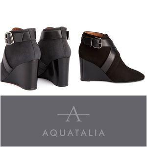 Aquatalia Suede Leather Buckle Tillie Wedge Bootie