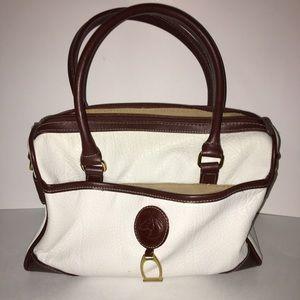 Leslie Fay Handbags - Leslie Fay White And Brown Medium Handbag Purse