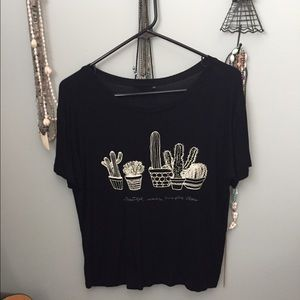Cactus Embroidered Crop Tee
