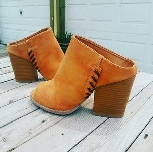 Shoes - //The Sequoia// Camel open toe Mule