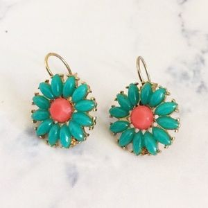 Jewelry - Beautiful pink and blue flower statement earrings