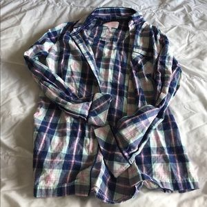 SUPER CUTE plaid victoria's secret sleep shirt szS