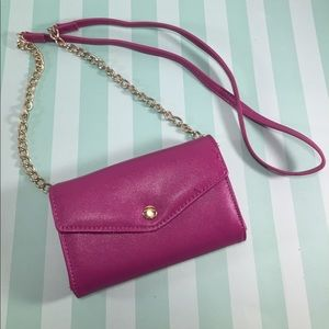 Handbags - Fuchsia Saffiano Style Crossbody