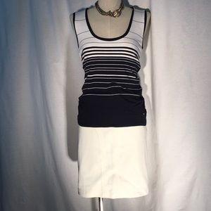 MaxMara Tops - MaxMara navy/white stripe rayon scoop neck top