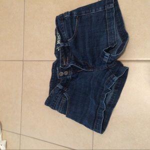 Pants - Dark wash denim shorts