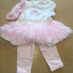 Girls pink and white tutu outfit with headband