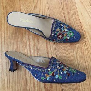 Vintage Shoes - Vintage Denim Embroidered Mules