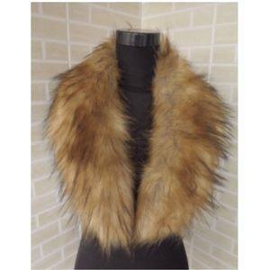 Faux Fur Collar Fuzzy Stole Shawl Brown Wrap Scarf