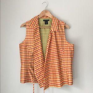 Anne Carson Tops - Anne Carson Multi Gingham Silk Wrap Sleeveless Top