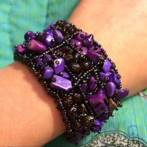 Jewelry - Purple Stone Magnetic Beaded Statement Bracelet