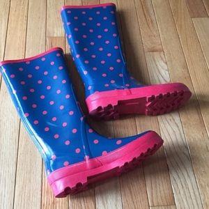 J. Crew Shoes - JCrew blue pink polka dot wellie rain boots 7