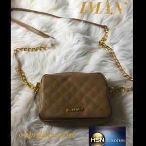 BNWT- 🚨1 HOUR🚨IMAN- leather quilted crossbody