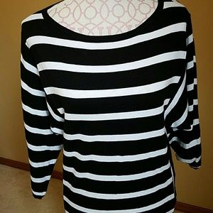 Chaps Sweaters - Chaps Denim XL black and white striped sweater