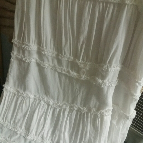 Long White Peasant Skirt 92