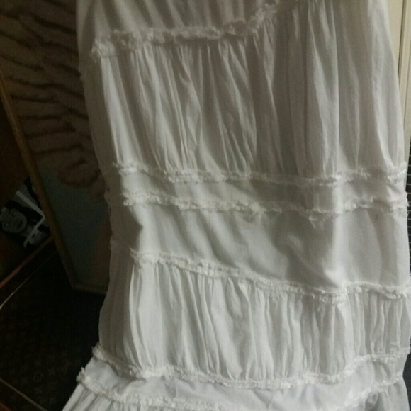 Long White Peasant Skirt 30