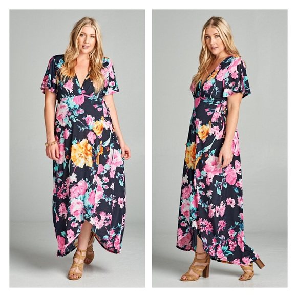 b749b9fbf9d Plus Size Floral Wrap Maxi Dress