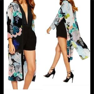 Twilight Gypsy Collective Other - Black & Floral Print Chiffon Kimono Duster