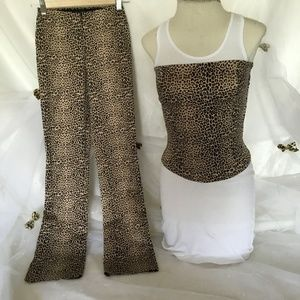 Pants - Leopard print two piece outfit