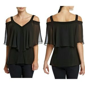 MSK Tops - MSK Cold-shoulder Flutter Sleeve Black Top Blouse