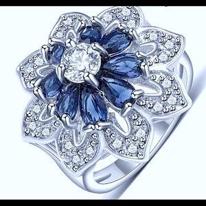 Curvy Couture Jewelry - Sapphire Blue & Diamond Platinum Cocktail Ring NWT