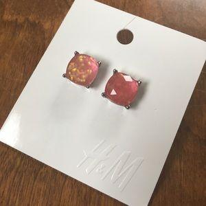 H&M pink gumdrop earrings