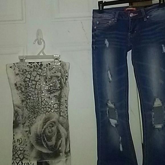 Union Bay jeans sz-0 & Stargazer r stone tube top NWT