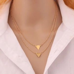 Dainty Layered Geometric Triangle Necklace Gold