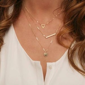 Dainty Layered Mixed Geometric Shape Gold Necklace