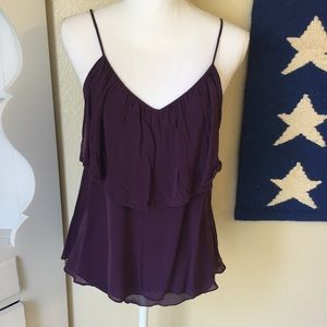 Kenar Purple Silk Ruffle Tank Top