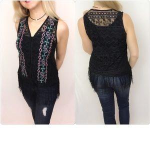 Jackets & Blazers - 🔵CLEARANCE🔵Flirty Bohemian Fringe Lace Vest S
