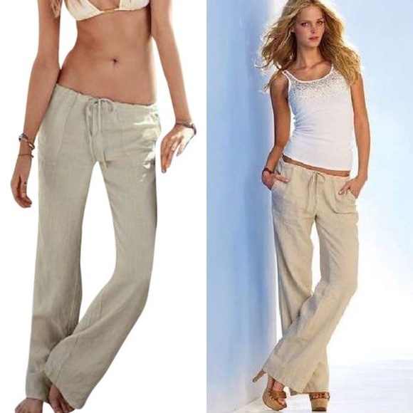 a183ae9b21 Victoria's Secret Pants | Victorias Secret Linen Beach Womens 6 ...