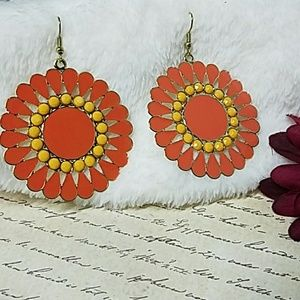Jesi's Fashionz  Jewelry - Yellow & Orange Flowerburst Drop Earrings