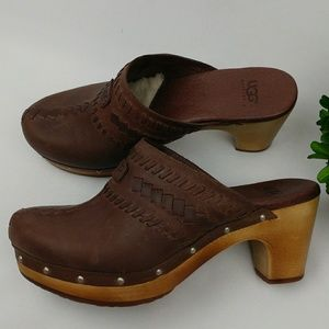 UGG Shoes - UGG leather clog mules wooden heel w/ shearling