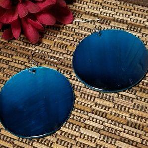 Jesi's Fashionz  Jewelry - BLUE OMBRE SHELL DISC DROP EARRINGS