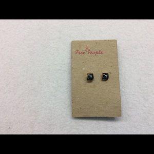 Free People Metallic Black Bronze Stud Earrings