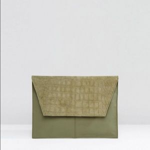ASOS  Croc Embossed Suede And Leather Clutch Bag