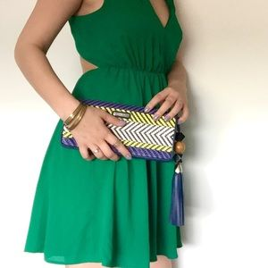 Rebecca Minkoff Handbags - Rebecca Minkoff Leather Woven Tassel Clutch Bag