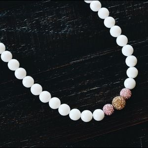 Chey Mina Brand Jewelry - White Jade & Swarovski Crystal Beaded Necklace