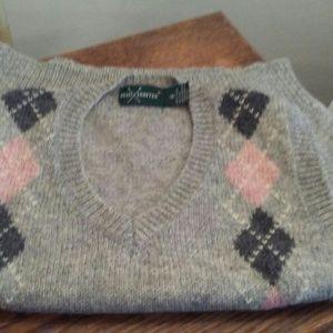 Vintage Gray & Pink Argyle Sweater Vest