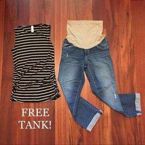 Indigo Blue Denim - MATERNITY Indigo Blue cropped jeans + FREE tank!