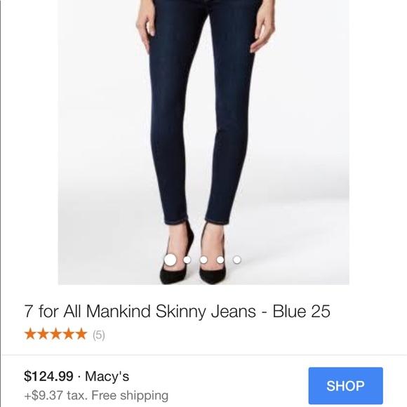 93 off 7 for all mankind denim flash sale 7 for all mankind skinny jeans from lovelyfinds. Black Bedroom Furniture Sets. Home Design Ideas