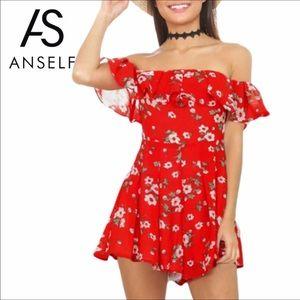 Dresses & Skirts - Floral Off Shoulder Romper