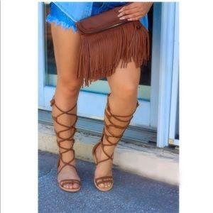 Tan tall gladiator sandals