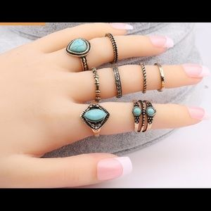 Jewelry - BOHEMIAN 8 PIECE SET TURQUOISE COLOR GOLD